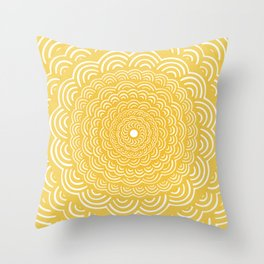 Spiral Mandala (Yellow Golden) Curve Round Rainbow Pattern Unique Minimalistic Vintage Zentangle Throw Pillow