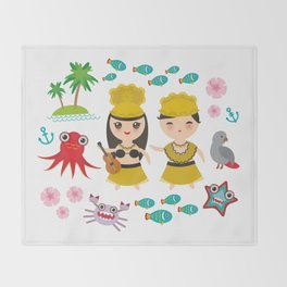 Hawaiian Hula Dancer Kawaii boy girl, set of Hawaii symbols with a guitar ukulele Throw Blanket