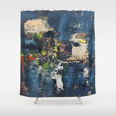 Peacock Blue Abstract Painting Vibrant Modern Art  Shower Curtain