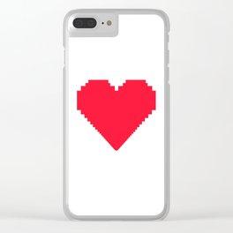 love heart pixel Clear iPhone Case