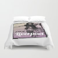 liverpool Duvet Covers featuring LIVERPOOL by TOO MANY GRAPHIX