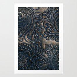 Worn Vintage Embossed Leather Art Print