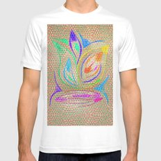 Colorful Lotus flower - uma releitura White Mens Fitted Tee MEDIUM