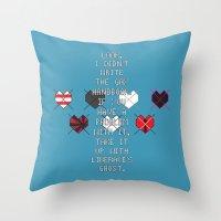 scott pilgrim Throw Pillows featuring Scott Pilgrim vs. The World - Wallace by MacGuffin Designs
