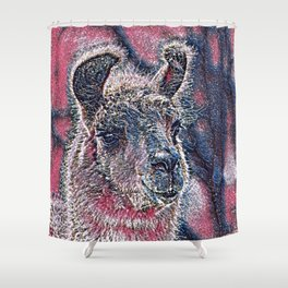 GlitzyAnimal_Alpaca_001_by_JAMColors Shower Curtain