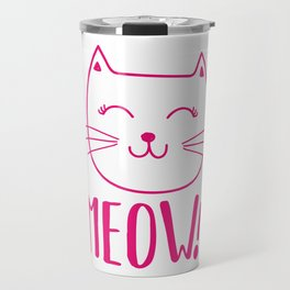 Sweet MEOW Cat Kitten Gift Idea Animal Love Travel Mug