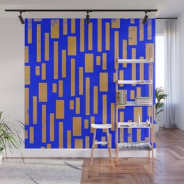 Abstract Bamboo Blue Gold Mid-Century Wall Mural