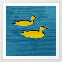 ducks Art Prints featuring Ducks by Brontosaurus