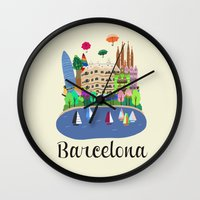 barcelona Wall Clocks featuring Barcelona  by uzualsunday