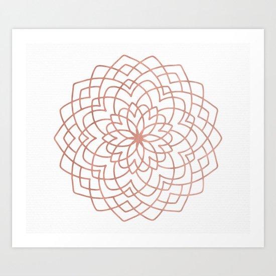 Mandala Blossom Rose Gold on White Art Print