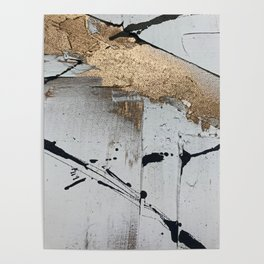 Still: an abstract mixed media piece in black, white, and gold by Alyssa Hamilton Art Poster