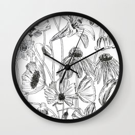 flower party black and white Wall Clock