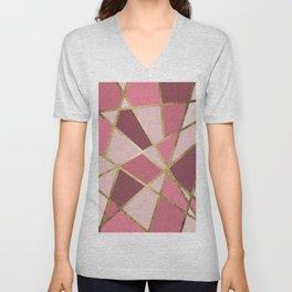 Girly Chic Pink & Burgundy Geo Gold Triangles Unisex V-Neck