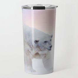 Large Polar bear walking on snow Travel Mug