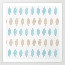 Pastel leaves blue and tan palette Art Print