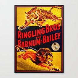 Vintage Circus Poster - Tiger & Lion Canvas Print