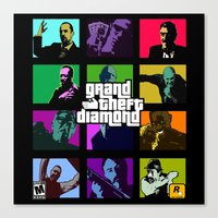 grand theft auto Canvas Prints featuring Grand Theft Diamond Snatchers by Ant Atomic