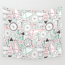 Cycling Bike Parts Wall Tapestry