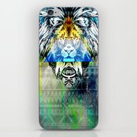 the lion king iPhone & iPod Skins featuring KING LION by sametsevincer