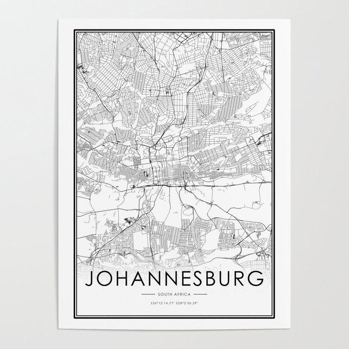 Map Of Africa Johannesburg.Johannesburg City Map South Africa White And Black Poster By Victorialyu