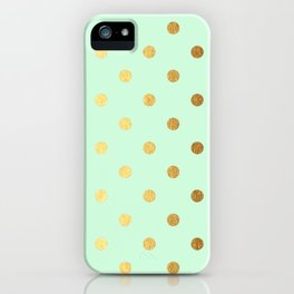 Gold polka dots on mint background - Luxury pattern iPhone Case