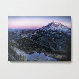 Mountain and Full Moon Metal Print