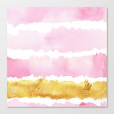 Pink and Gold Bold Watercolor Brush Strokes Canvas Print
