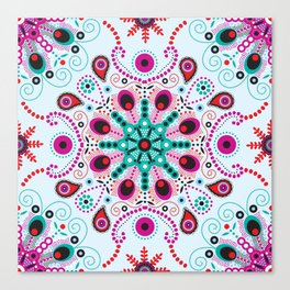 Pointillism mandala | Light blue, red and purple Canvas Print