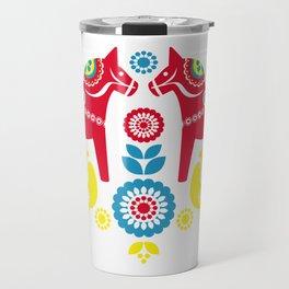 Swedish Dalahäst Travel Mug