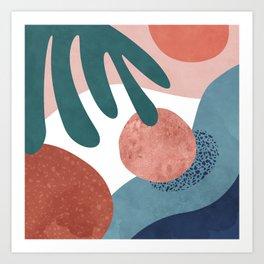 Tropical terrazzo ocher turquoise blue Art Print