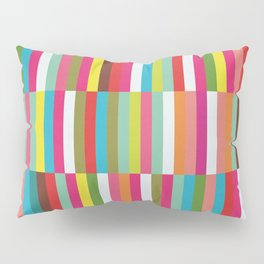 Bright Colorful Stripes Pattern - Pink, Green, Summer Spring Abstract Design by Pillow Sham