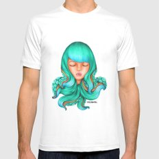 Octopus Hair Girl SMALL White Mens Fitted Tee