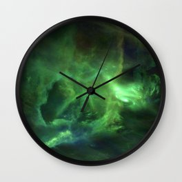 Ghostly Green Smoke Wall Clock
