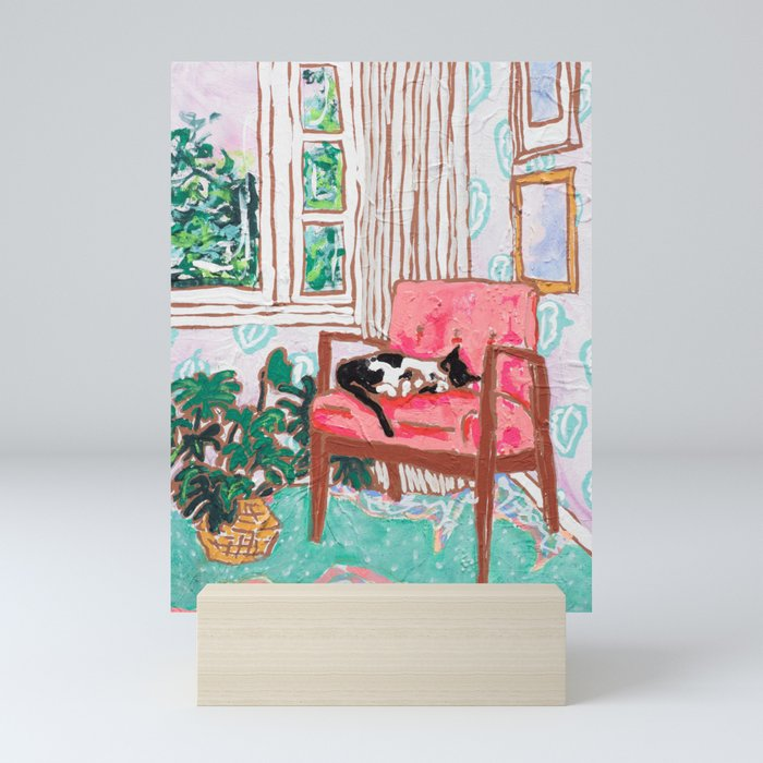 Little Naps - Tuxedo Cat Napping in a Pink Mid-Century Chair by the Window Mini Art Print