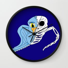 Half Skeleton Bird Wall Clock