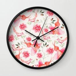 Oriental birds Wall Clock