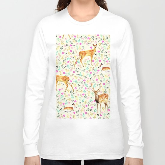 Deers #society6 #illustration #christmas Long Sleeve T-shirt