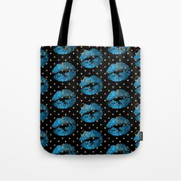 Blue Turquoise Glitter Lip Pattern Tote Bag
