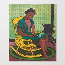 The Yellow Rocker Woodblock Art Canvas Print