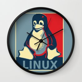 Linux Tux classic Obama poster Wall Clock