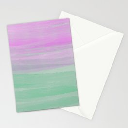 Modern Artistic Neo Mint Pink Watercolor Brushstrokes Stationery Cards
