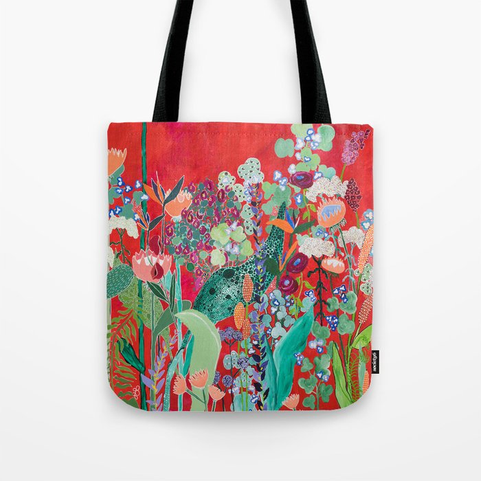 Red floral Jungle Garden Botanical featuring Proteas, Reeds, Eucalyptus, Ferns and Birds of Paradise Tote Bag
