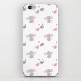 Pink Elephant Chickadee Bird Heart iPhone Skin