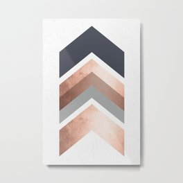 Grey, Bronze Chevron Home Decor Design Metal Print