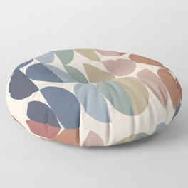 Geometric Shape Patterns in Vintage Multicolor Earthy themed (Moon Phase Abstract) Floor Pillow