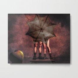 Slap and Tickle Behind The Umbrella Metal Print