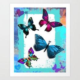 Morpho Blue Aqua Pink Butterflies Art Print