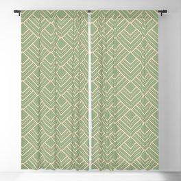 Paris - Classic Green Beige Geometric Minimalism Blackout Curtain