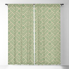Paris - Classic Green Beige Geometric Minimalism Blackout Curtain