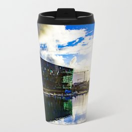 Arctic Circle Sunset Behind a Ship on the Sea behind the Harpa Concert Hall in Reykjavik, Iceland Travel Mug